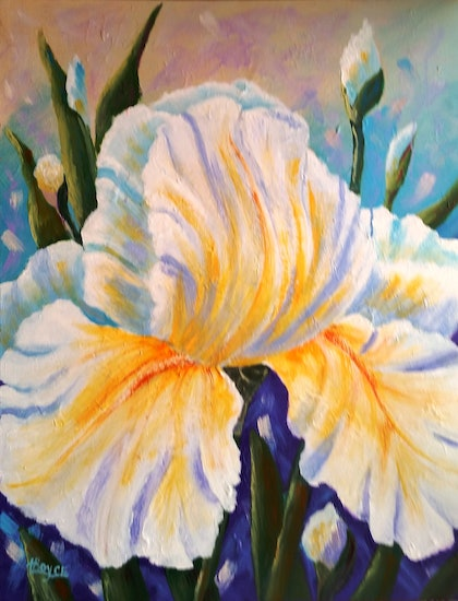 (CreativeWork) WHITE IRIS DELIGHT by Lorelle Boyce. arcylic-painting. Shop online at Bluethumb.
