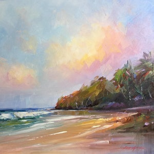 (CreativeWork) Noosa's Main beach #2 by Liliana Gigovic. oil-painting. Shop online at Bluethumb.