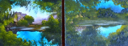 (CreativeWork) Petite Landscapes  #14 and #15 (diptych) by Elaine Green. oil-painting. Shop online at Bluethumb.