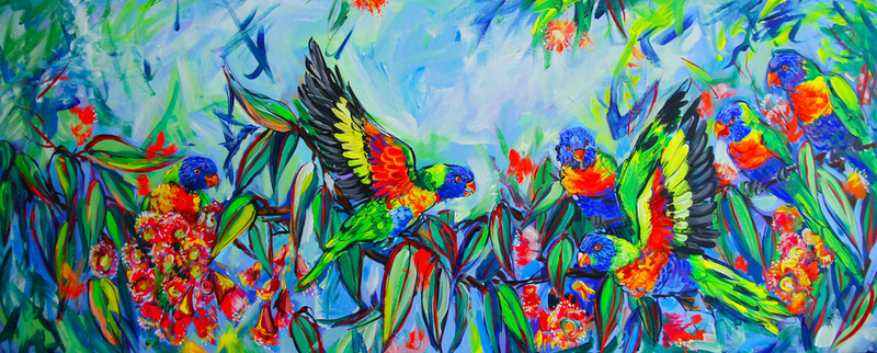 (CreativeWork) Rainbow Lorikeets  by Katerina Apale. arcylic-painting. Shop online at Bluethumb.