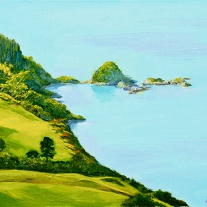 (CreativeWork) Wainui Islets, Akaroa Harbour, NZ by Dai Wynn. oil-painting. Shop online at Bluethumb.