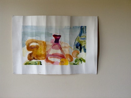 (CreativeWork) Loose Still Life with Bottles and Fruit. by Mitch Ianni. watercolour. Shop online at Bluethumb.