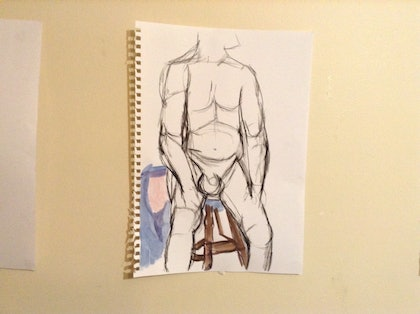 (CreativeWork) Male nude 2 by Mitch Ianni. mixed-media. Shop online at Bluethumb.