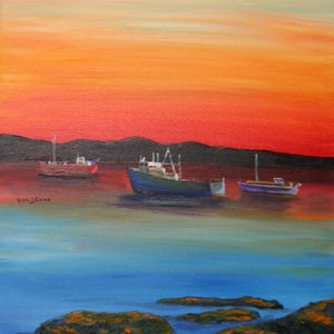 (CreativeWork) BICHENO SUNRISE by Ralph Coles. oil-painting. Shop online at Bluethumb.