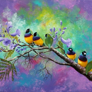 (CreativeWork) Gouldian Finches in the Jacaranda  - Copy by Rhonda Armistead. oil-painting. Shop online at Bluethumb.