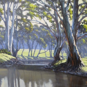(CreativeWork) Sunny Afternoon On The Ovens River by John Rice. oil-painting. Shop online at Bluethumb.