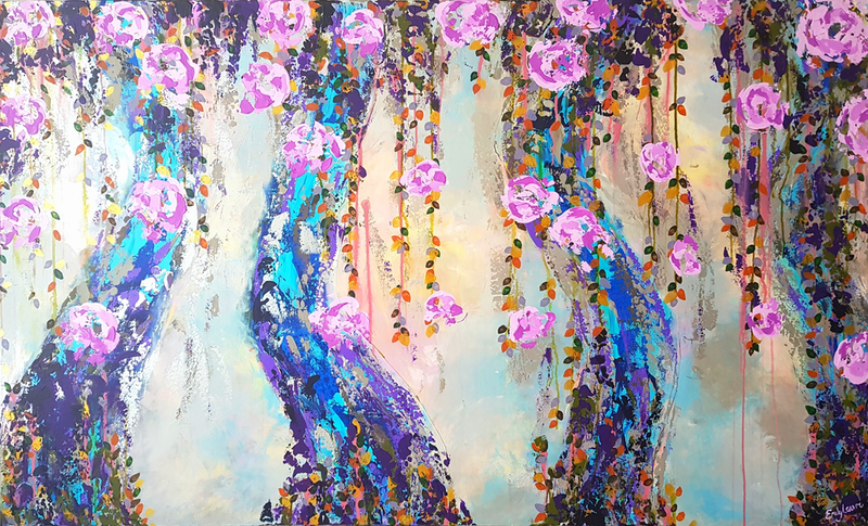 (CreativeWork) Intertwined by Emily Lauro. arcylic-painting. Shop online at Bluethumb.