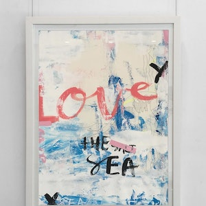 (CreativeWork) Love the Sea  - original (framed) by Tim Christinat. arcylic-painting. Shop online at Bluethumb.