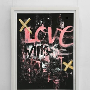 (CreativeWork) Love Wins  - original (framed) by Tim Christinat. arcylic-painting. Shop online at Bluethumb.