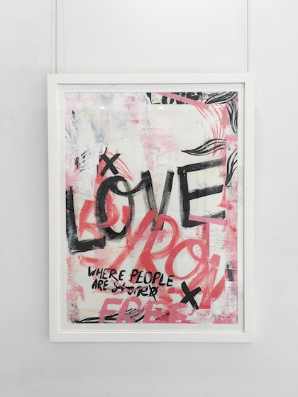 (CreativeWork) Love Byron - original (framed) by Tim Christinat. arcylic-painting. Shop online at Bluethumb.