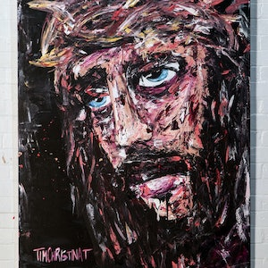 (CreativeWork) Jesus - original by Tim Christinat. arcylic-painting. Shop online at Bluethumb.
