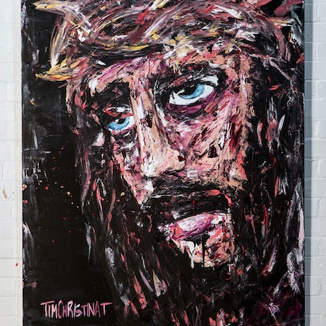 (CreativeWork) Jesus by Tim Christinat. Acrylic Paint. Shop online at Bluethumb.