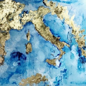 (CreativeWork) A piece of Europe. Original Artwork on Canvas by Melissa La Bozzetta. mixed-media. Shop online at Bluethumb.