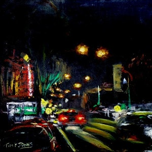 (CreativeWork)  Katoomba Street Nocturne by Tim K Jones. oil-painting. Shop online at Bluethumb.