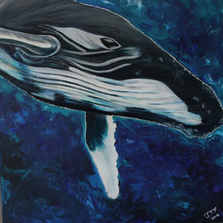 (CreativeWork) Whale Song by Jade T Fisher. Acrylic Paint. Shop online at Bluethumb.