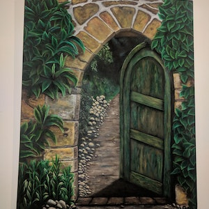 (CreativeWork) The Secret Garden by Maryam Montazerolghaem. oil-painting. Shop online at Bluethumb.
