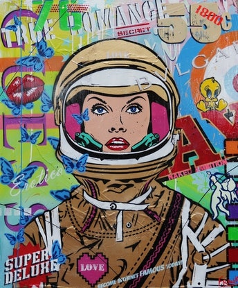 (CreativeWork) Cadet Lessons 120cm x 100cm gloss finish textured Pop art Space Girl Face by _Franko _. Mixed Media. Shop online at Bluethumb.
