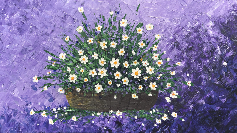 (CreativeWork) Flowers by Tom Roso. Acrylic Paint. Shop online at Bluethumb.