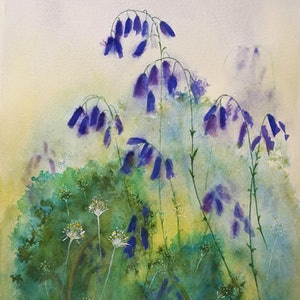 (CreativeWork) Bluebells by Lucinda Leveille. watercolour. Shop online at Bluethumb.