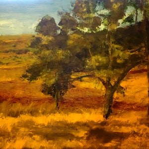 (CreativeWork) Looking out West, Summer idyll by Tim K Jones. oil-painting. Shop online at Bluethumb.