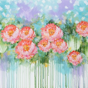 (CreativeWork) Peony by Joanne Bennett. arcylic-painting. Shop online at Bluethumb.