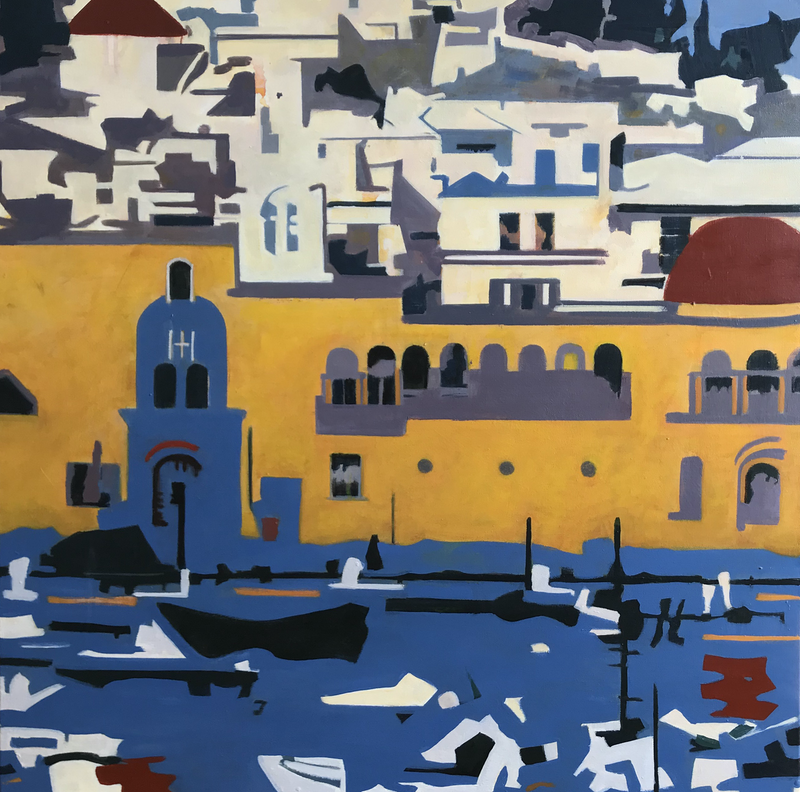(CreativeWork) Kalymnos  by Rhonda Diakomichalis. arcylic-painting. Shop online at Bluethumb.