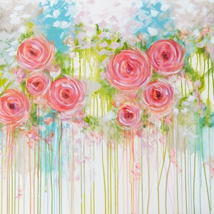 (CreativeWork) The Pastel Rose by Joanne Bennett. arcylic-painting. Shop online at Bluethumb.