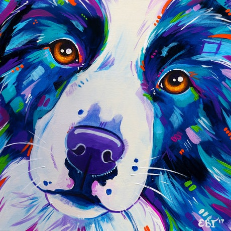 (CreativeWork) Dog Painting - Collie Close Up - Border Collie Dog Acrylic Painting by Eve Izzett. Acrylic Paint. Shop online at Bluethumb.