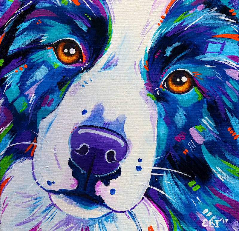(CreativeWork) Dog Painting - Collie Close Up - Border Collie Dog Acrylic Painting by Eve Izzett. arcylic-painting. Shop online at Bluethumb.