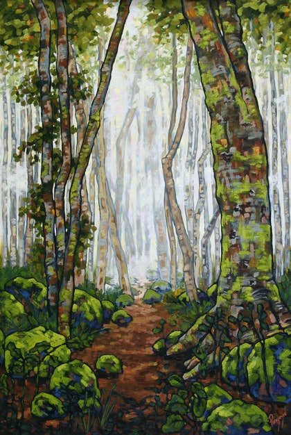 (CreativeWork) The Magic, the Mist, and the Moss of a Queensland Rainforest by Judi Parkinson. oil-painting. Shop online at Bluethumb.