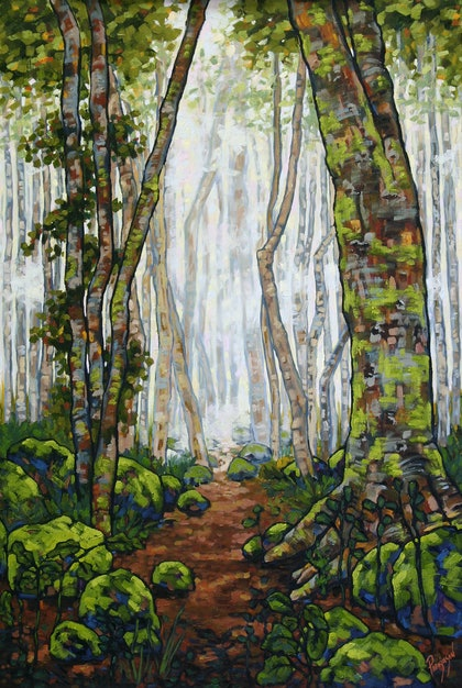 (CreativeWork) The Magic Rainforest by Judi Parkinson. oil-painting. Shop online at Bluethumb.