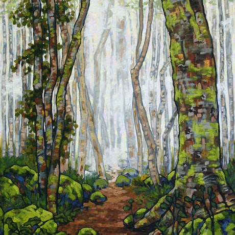 (CreativeWork) Magic Rainforest by Judi Parkinson. Oil Paint. Shop online at Bluethumb.