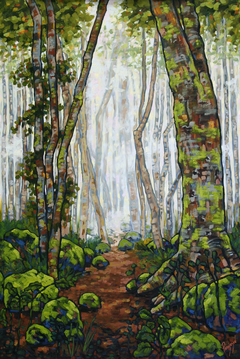 (CreativeWork) Magic Rainforest by Judi Parkinson. oil-painting. Shop online at Bluethumb.