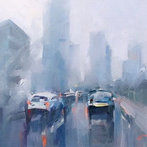 (CreativeWork) Winter's day in Melbourne by LI ZHOU. oil-painting. Shop online at Bluethumb.