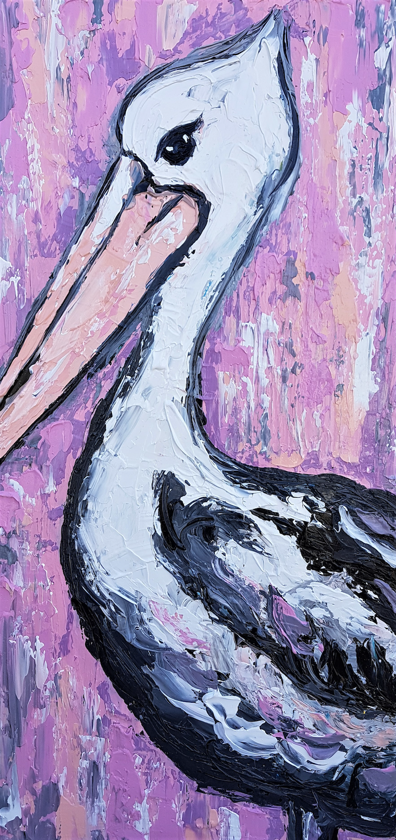 (CreativeWork) Pelican Under a Pink Sky by Lisa Fahey. mixed-media. Shop online at Bluethumb.