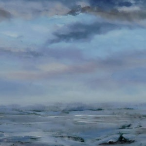 (CreativeWork) Something on the horizon by adele dubarry. oil-painting. Shop online at Bluethumb.
