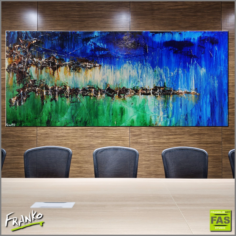 (CreativeWork) Natures Spirit   240cm x 100cm Huge High gloss textured green blue abstract landscape by _Franko _. arcylic-painting. Shop online at Bluethumb.