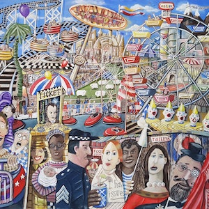 (CreativeWork) FAIRGROUND ATTRACTIONS by Geoffrey Stapleton. arcylic-painting. Shop online at Bluethumb.