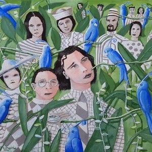(CreativeWork)  THE AVIARY  by Geoffrey Stapleton. arcylic-painting. Shop online at Bluethumb.