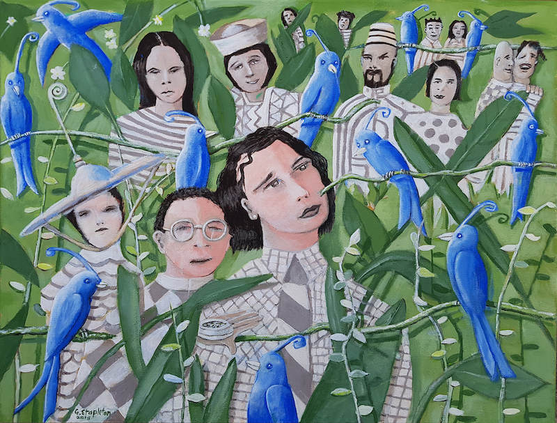 (CreativeWork)  THE AVIARY  by Geoffrey Stapleton. acrylic-painting. Shop online at Bluethumb.