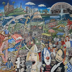 (CreativeWork) ADELAIDE AT FESTIVAL TIME by Geoffrey Stapleton. acrylic-painting. Shop online at Bluethumb.