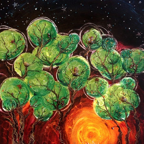 (CreativeWork) Campfire Glow by Nevena Nikolic. Mixed Media. Shop online at Bluethumb.
