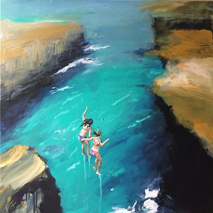(CreativeWork) Live in the moment by Gina Fishman. Acrylic Paint. Shop online at Bluethumb.