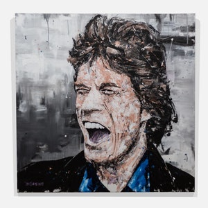 (CreativeWork) Mick Jagger - original by Tim Christinat. arcylic-painting. Shop online at Bluethumb.