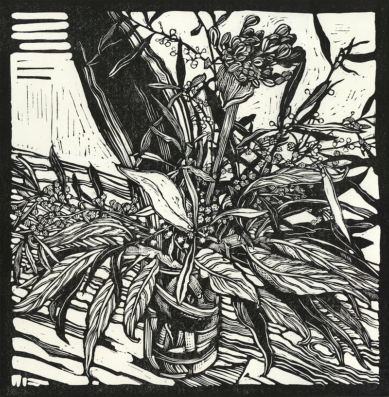 (CreativeWork) Wattle and an Agapanthus in a Glass Jar Ed. 5 of 10 by Andrew Crooks. print. Shop online at Bluethumb.