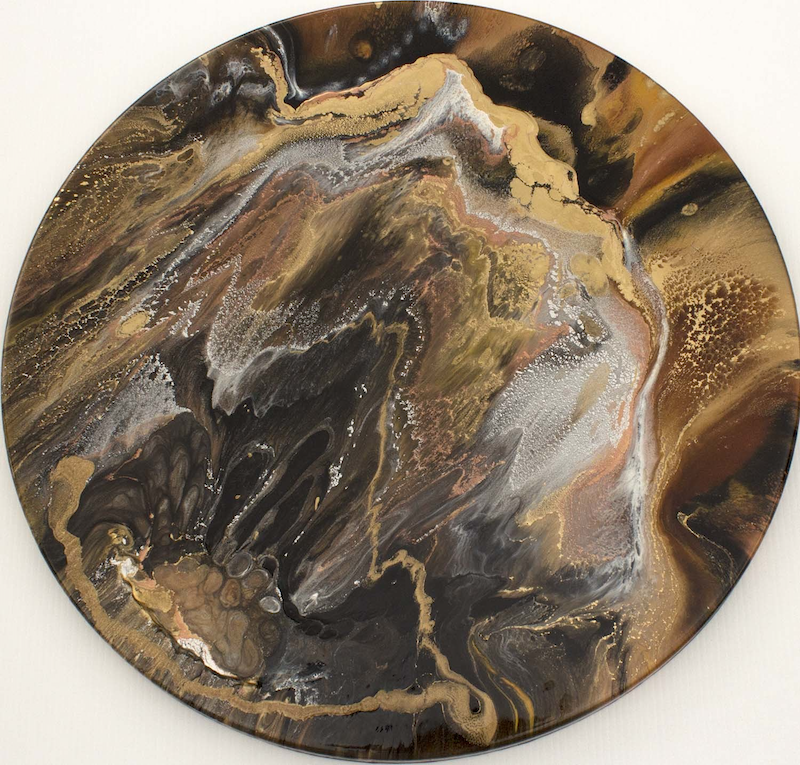 (CreativeWork) Volcanic Island by Gayle Reichelt. resin. Shop online at Bluethumb.
