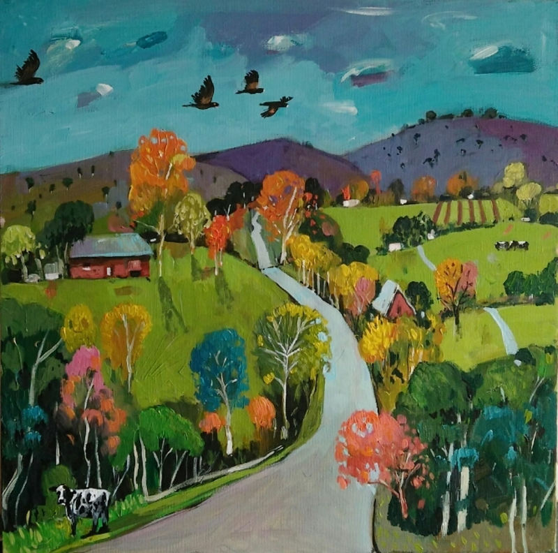 (CreativeWork) Road Side Cow # 1 by Susan Trudinger. arcylic-painting. Shop online at Bluethumb.