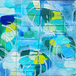 (CreativeWork) Tropical Monstera by Jillian Rapley. arcylic-painting. Shop online at Bluethumb.