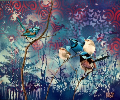 (CreativeWork) Blue Boys by Susan Skuse. mixed-media. Shop online at Bluethumb.