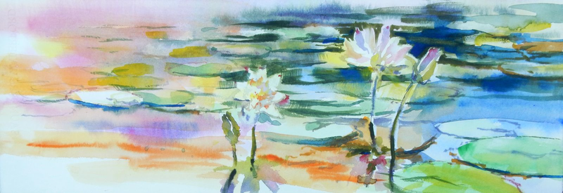 (CreativeWork) Water lilies by Elena Churilova. watercolour. Shop online at Bluethumb.